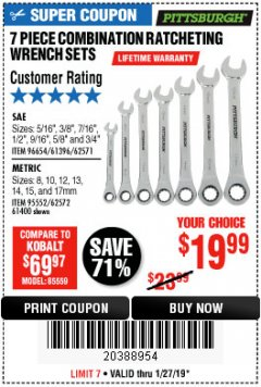 Harbor Freight Coupon 7 PIECE COMBINATION RATCHETING WRENCH SET Lot No. 96654/61396/62571/95552/62572/61400 Expired: 1/27/19 - $19.99