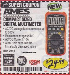 Harbor Freight Coupon AMES COMPACT SIZED DIGITAL MULTIMETER Lot No. 64014 EXPIRES: 6/30/18 - $24.99
