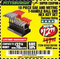 Harbor Freight Coupon 18 PIECE SAE AND METRIC T-HANDLE BALL END HEX KEY SET Lot No. 96645/62476 Expired: 9/10/18 - $12.99