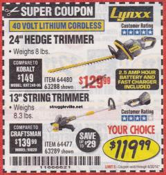"Harbor Freight Coupon LYNXX 13"" STRING TRIMMER Lot No. 64477/63289 EXPIRES: 6/30/18 - $119.99"