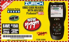 Harbor Freight Coupon ZURICH OBD2 SCANNER WITH ABS ZR13 Lot No. 63806 Expired: 2/16/19 - $179.99