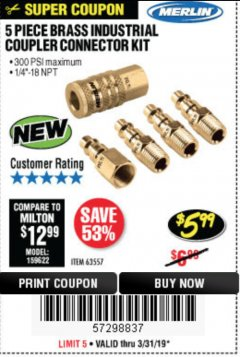Harbor Freight Coupon 5 PIECE BRASS INDUSTRIAL COUPLER CONNECTOR KIT Lot No. 63557 Expired: 3/31/19 - $5.99