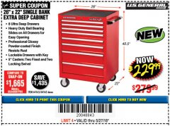 "Harbor Freight Coupon 26"" X 22"" SINGLE BANK EXTRA DEEP CABINET Lot No. 64162/64163 Expired: 5/27/18 - $229.99"