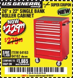 "Harbor Freight Coupon 26"" X 22"" SINGLE BANK EXTRA DEEP CABINET Lot No. 64162/64163 Expired: 10/18/18 - $229.99"
