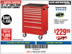 "Harbor Freight Coupon 26"" X 22"" SINGLE BANK EXTRA DEEP CABINET Lot No. 64162/64163 Expired: 7/8/18 - $229.99"