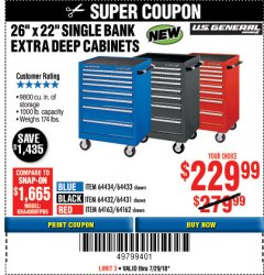 "Harbor Freight Coupon 26"" X 22"" SINGLE BANK EXTRA DEEP CABINET Lot No. 64162/64163 Expired: 7/29/18 - $229.99"