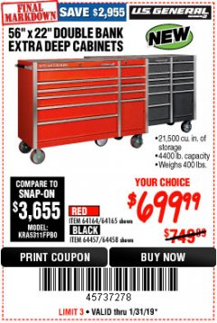 "Harbor Freight Coupon 56"" X 22"" DOUBLE BANK EXTRA DEEP CABINETS Lot No. 64458/64457/64164/64165 Expired: 1/31/19 - $699.99"