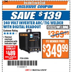 Harbor Freight ITC Coupon 249 VOLT INVERTER ARC/TIG WELDER WITH DIGITAL READOUT Lot No. 62486 Expired: 5/29/18 - $349