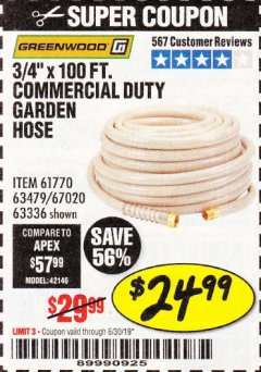 "Harbor Freight Coupon 3/4""X100FT. COMMERCIAL DUTY GARDEN HOSE Lot No. 63336 Valid Thru: 6/30/19 - $24.99"
