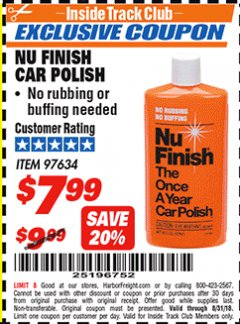 Harbor Freight ITC Coupon NU FINISH CAR POLISH Lot No. 97634 Expired: 8/31/18 - $7.99