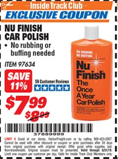 Harbor Freight ITC Coupon NU FINISH CAR POLISH Lot No. 97634 Expired: 8/31/19 - $7.99