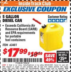 Harbor Freight ITC Coupon 5 GALLON DIESEL CAN Lot No. 63481 Dates Valid: 12/31/69 - 6/30/18 - $17.99