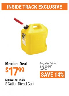 Harbor Freight ITC Coupon 5 GALLON DIESEL CAN Lot No. 63481 Valid: 3/26/21 - 4/29/21 - $17.99