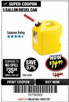 Harbor Freight Coupon 5 GALLON DIESEL CAN Lot No. 63481 Expired: 10/31/18 - $14.99