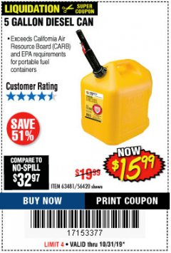 Harbor Freight Coupon 5 GALLON DIESEL CAN Lot No. 63481 Expired: 10/31/19 - $15.99