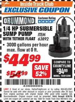 Harbor Freight ITC Coupon 1/4 HP SUBMERSIBLE SUMP PUMP WITH TETHER FLOAT Lot No. 63892 Expired: 6/30/18 - $44.99
