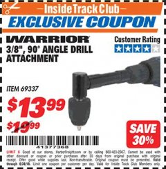 "Harbor Freight ITC Coupon 3/8"", 90° ANGLE DRILL ATTACHMENT - WARRIOR Lot No. 69337 Dates Valid: 6/1/18 - 6/30/18 - $13.99"