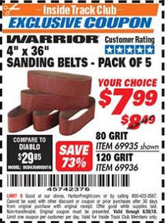 "Harbor Freight ITC Coupon 4"" X 36"" SANDING BELTS - PACK OF 5 Lot No. 69935/69936 Expired: 6/30/18 - $7.99"