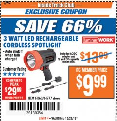 Harbor Freight ITC Coupon 3 WATT LED RECHARGEABLE CORDLESS SPOTLIGHT Lot No. 61777/69286/61960 Dates Valid: 10/16/18 - 10/23/18 - $9.99