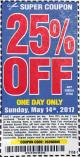 Harbor Freight Coupon 25 percent off coupon expires: 5/14/17