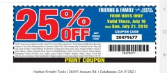 Harbor Freight Coupon 25 percent off coupon expires: 7/21/19
