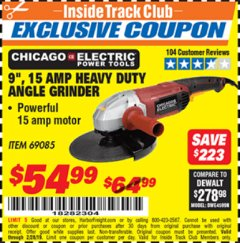 "Harbor Freight ITC Coupon 9"", 15 AMP HEAVY DUTY ANGLE GRINDER Lot No. 69085 Dates Valid: 2/1/19 - 2/28/19 - $54.99"