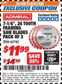 "Harbor Freight ITC Coupon 7-14"", 24 TOOTH FRAMING SAW BLADES PACK OF 3 Lot No. 62742 Dates Valid: 12/31/69 - 6/30/18 - $11.99"