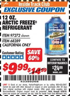 Harbor Freight ITC Coupon 12 OZ. ARTIC FREEZE REFRIGERANT Lot No. 97272/68289 Expired: 6/30/18 - $9.99