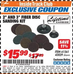 "Harbor Freight ITC Coupon 2"" AND 3"" FIBER DISC SANDING KIT Lot No. 61561/43029 Dates Valid: 12/31/69 - 6/30/18 - $15.99"