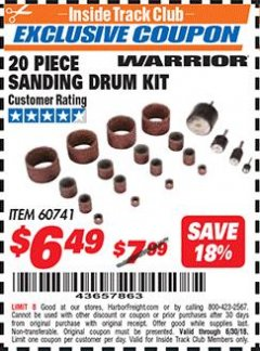 Harbor Freight ITC Coupon WARRIOR 20 PIECE SANDING DRUM KIT Lot No. 60741 Expired: 6/30/18 - $6.49