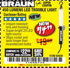 Harbor Freight Coupon 450 LUMENS LED TROUBLE LIGHT Lot No. 63920 EXPIRES: 10/30/18 - $14.99