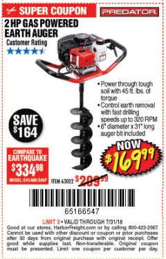 Harbor Freight Coupon GAS POWERED EARTH AUGER Lot No. 63022 Expired: 7/31/18 - $169.99