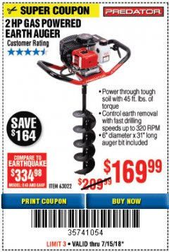 Harbor Freight Coupon GAS POWERED EARTH AUGER Lot No. 63022 Expired: 7/15/18 - $169.99