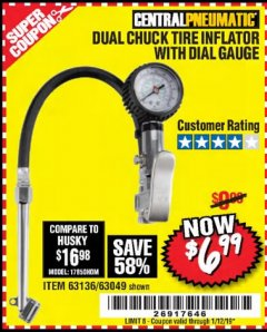 Harbor Freight Coupon DUAL CHUCK TIRE INFLATOR WITH DIAL GAUGE Lot No. 68271/61387 Valid Thru: 1/12/19 - $6.99