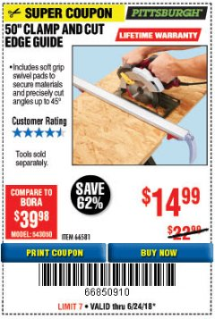 "Harbor Freight Coupon 50"" CLAMP & CUT EDGE GUIDE Lot No. 66581 Expired: 6/24/18 - $14.99"