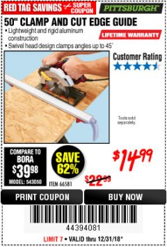 "Harbor Freight Coupon 50"" CLAMP & CUT EDGE GUIDE Lot No. 66581 Valid Thru: 12/31/18 - $14.99"