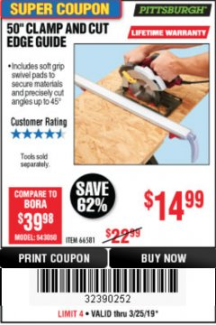 "Harbor Freight Coupon 50"" CLAMP & CUT EDGE GUIDE Lot No. 66581 Expired: 3/24/19 - $14.99"
