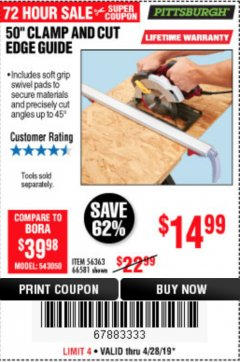 "Harbor Freight Coupon 50"" CLAMP & CUT EDGE GUIDE Lot No. 66581 Expired: 4/28/19 - $14.99"