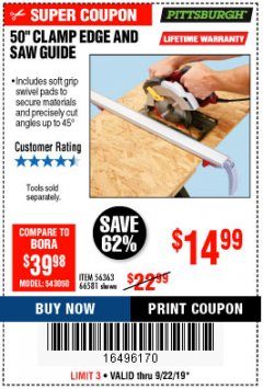 "Harbor Freight Coupon 50"" CLAMP & CUT EDGE GUIDE Lot No. 66581 Expired: 9/22/19 - $14.99"