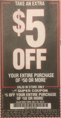 Harbor Freight Coupon $5 TOOL SALE WHEN YOU SPEND $49.99 Lot No. 69645/60625/62340/62546/631104/96289/63156/68019/62279/62302/67866/69861/60725/61894/69465/62856/61719/60614 Valid: 7/1/19 7/28/19 - $5