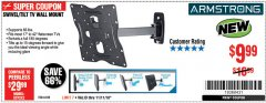 Harbor Freight Coupon SWIVEL/TILT TV WALL MOUNT Lot No. 64238 Expired: 11/11/18 - $9.99