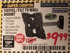 Harbor Freight Coupon SWIVEL/TILT TV WALL MOUNT Lot No. 64238 Expired: 1/31/19 - $9.99
