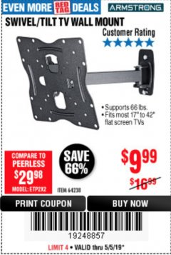 Harbor Freight Coupon SWIVEL/TILT TV WALL MOUNT Lot No. 64238 Expired: 5/5/19 - $9.99