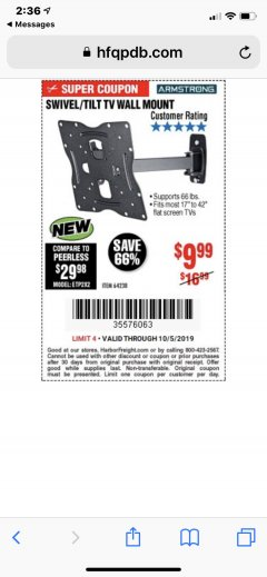 Harbor Freight Coupon SWIVEL/TILT TV WALL MOUNT Lot No. 64238 Expired: 10/5/19 - $9.99