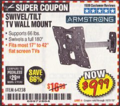 Harbor Freight Coupon SWIVEL/TILT TV WALL MOUNT Lot No. 64238 Expired: 10/31/19 - $9.99