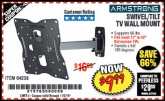 Harbor Freight Coupon SWIVEL/TILT TV WALL MOUNT Lot No. 64238 Expired: 11/2/19 - $9.99