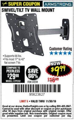 Harbor Freight Coupon SWIVEL/TILT TV WALL MOUNT Lot No. 64238 Expired: 11/30/19 - $9.99