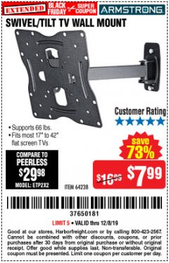 Harbor Freight Coupon SWIVEL/TILT TV WALL MOUNT Lot No. 64238 Expired: 12/8/19 - $7.99