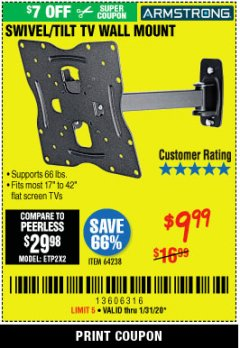 Harbor Freight Coupon SWIVEL/TILT TV WALL MOUNT Lot No. 64238 Expired: 1/31/20 - $9.99