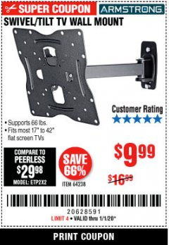 Harbor Freight Coupon SWIVEL/TILT TV WALL MOUNT Lot No. 64238 Expired: 1/1/20 - $9.99